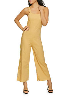 Smocked Back Linen Gaucho Jumpsuit - 1408068197207