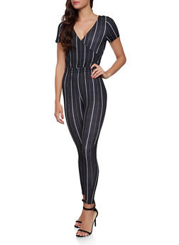 6e331e7c9994 Striped Faux Wrap Tie Back Jumpsuit - 1408069390520