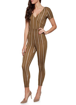 Striped Faux Wrap Tie Back Jumpsuit - 1408069390520