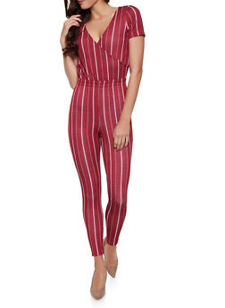 585c39d1879 Striped Faux Wrap Tie Back Jumpsuit - 1408069390520