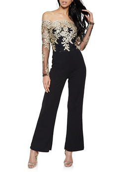 Embroidered Off the Shoulder Jumpsuit - 1408069390526