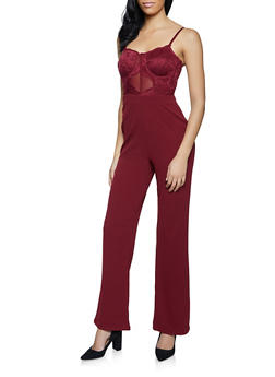 Lace Bustier Jumpsuit - 1408069390529