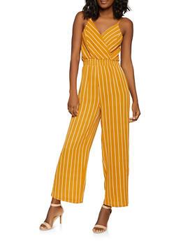7858108c7f3 Striped Faux Wrap Jumpsuit - 1408069390628