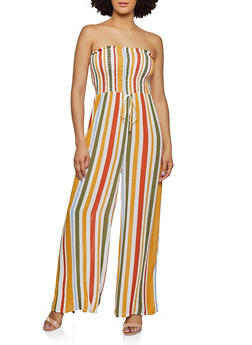 Striped Tube Palazzo Jumpsuit - 1408069390670