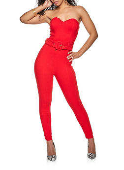 Strapless Belted Jumpsuit - 1408069390913