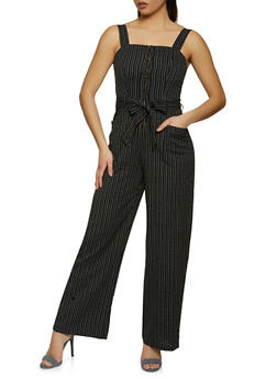 Striped Sleeveless Jumpsuit - 1408069391705