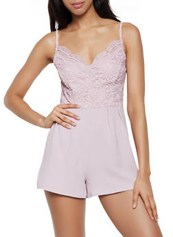 Crochet Top Cami Romper - 1408069395000