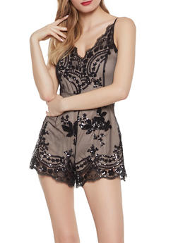 737a599f0ab Sleeveless Sequin Romper - 1408069395048