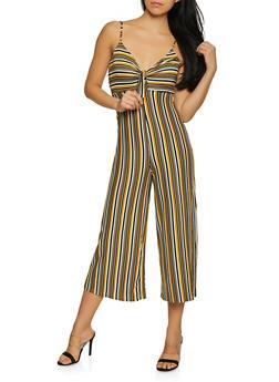 Soft Knit Striped Tie Front Jumpsuit - 1408069397014