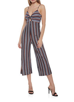 Soft Knit Striped Tie Front Jumpsuit - 1408069397014