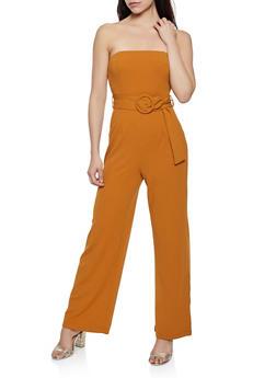 Crepe Knit Belted Jumpsuit - 1408069397051
