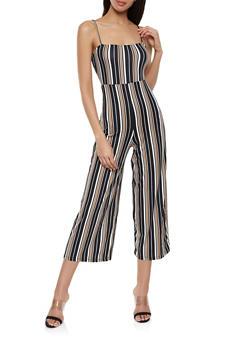Striped Soft Knit Wide Leg Jumpsuit - 1408069397231