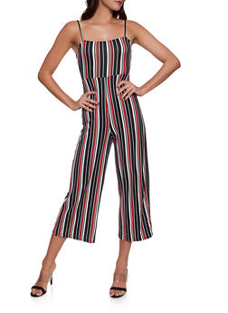 Striped Soft Knit Wide Leg Jumpsuit - 1408069397231