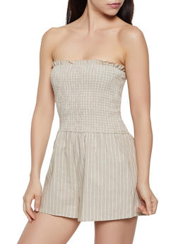 Striped Linen Tube Romper - 1408069397284