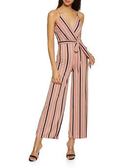 Striped Faux Wrap Cami Jumpsuit - 1408069397291