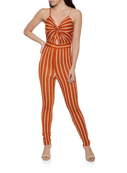 Striped Twist Front Cami Jumpsuit - 1408069397938