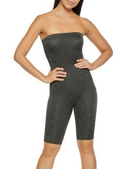 Glitter Knit Striped Tube Romper - 1408072244054