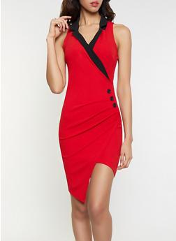 Ruched Faux Wrap Blazer Dress - 1410015990820