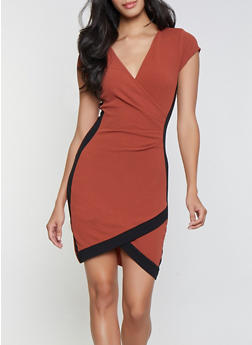 Contrast Trim Faux Wrap Dress - 1410015992094