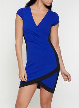 Contrast Trim Faux Wrap Dress - 1410015992094