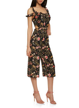 Floral Cut Out Cropped Jumpsuit - 1410015992478