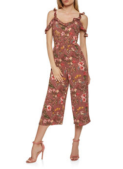 Floral Cut Out Cropped Jumpsuit - 1410015992478