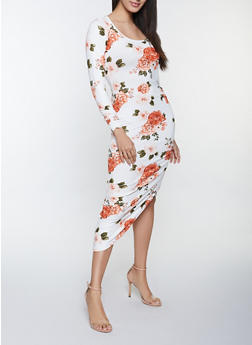 Floral Ruched Asymmetrical Dress - 1410015992677