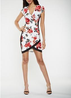 Floral Faux Wrap Bodycon Dress - 1410015993127