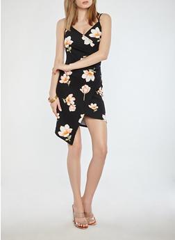 Floral Faux Wrap Dress - 1410015994231