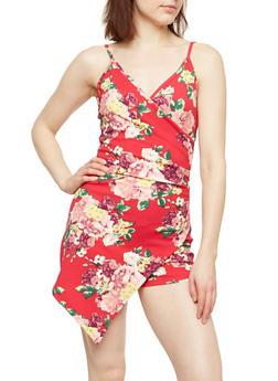 Floral Ruched Skort Romper - 1410015994283