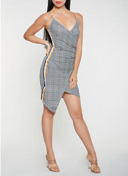 Houndstooth Faux Wrap Bodycon Dress - 1410015994423