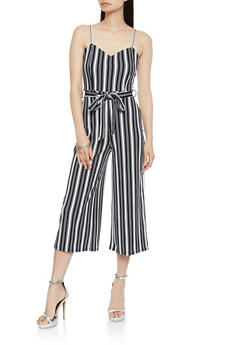 Striped Tie Waist Cropped Jumpsuit - 1410015994474