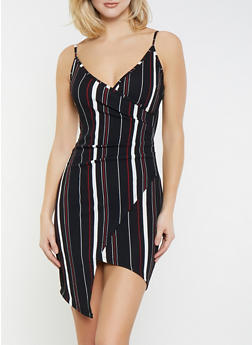 Faux Wrap Striped Dress - 1410015995046