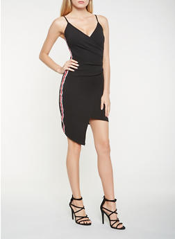 Side Striped Asymmetrical Bodycon Dress - 1410015995060
