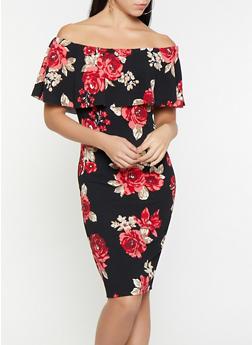 Floral Off the Shoulder Dress - 1410015996079