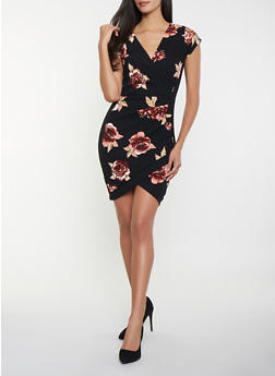 Floral Faux Wrap Dress - 1410015996080