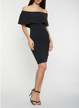 Solid Off the Shoulder Midi Dress - 1410015996094