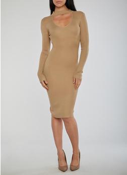 Ribbed Knit Long Sleeve Keyhole Dress - 1410015996351