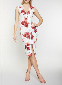 Floral Zip Front Bodycon Dress - 1410015996908