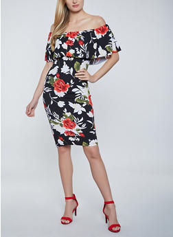 Rose Print Off the Shoulder Dress - 1410015997188