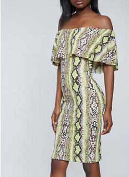 Snake Print Off the Shoulder Dress - 1410015997239