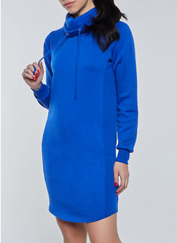 Funnel Neck Sweatshirt Dress - 1410015997615