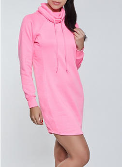 Funnel Neck Sweatshirt Dress - 1410015997615