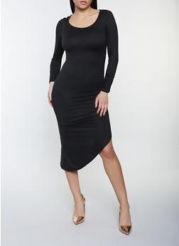 Ruched Asymmetrical Midi Dress - 1410015997622