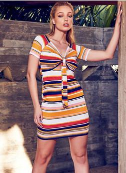 Tie Front Keyhole Striped Dress - 1410015997722