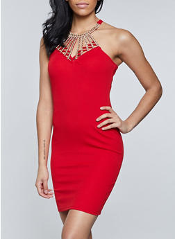Caged Rhinestone Bodycon Dress - 1410015997760