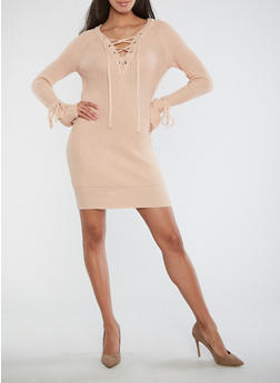 Lace Up Tie Sleeve Sweater Dress - 1410015998100