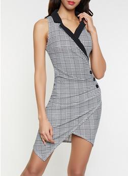 Plaid Faux Wrap Blazer Dress - 1410015998821
