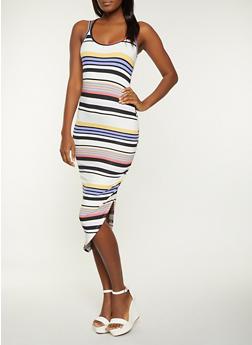 Striped Asymmetrical Bodycon Dress - 1410015998847