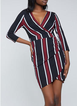 Striped Faux Wrap Dress - 1410015998920